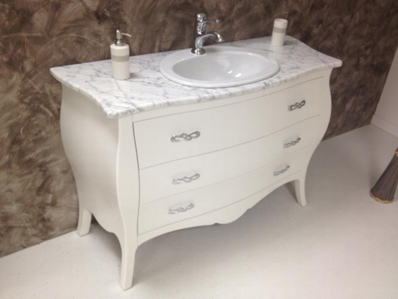Mobile bagno 3 cassetti da 120cm bombato laccato bianco - Mobile bagno marmo ...