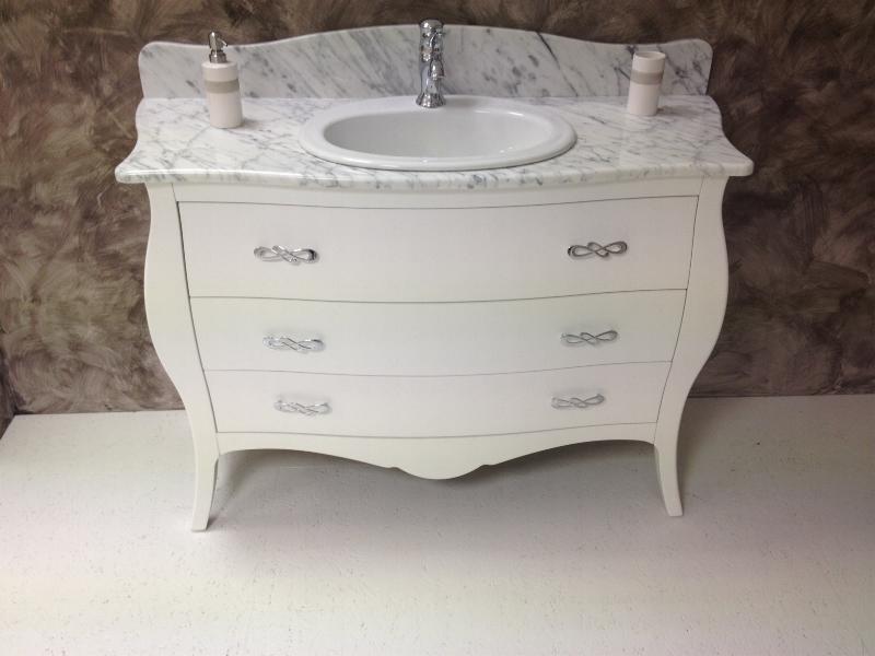 Mobile bagno classico bombato 3 cassetti da 125 con top in - Mobile bagno marmo ...